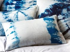 A Good Reason to Stay in Bed DiNella employs the Japanese art of shibori, binding each material (linen, silk, leather) before dipping it in indigo dye.