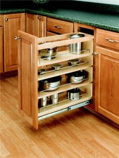 Rev-A-Shelf Natural Wood 448 Series Wide Pull Out Base Organizer for Full Height Base Cabinet – organization kitchen Inside Kitchen Cabinets, Refacing Kitchen Cabinets, Kitchen Drawers, Kitchen Cabinet Doors, Base Cabinets, Diy Kitchen, Kitchen Decor, Kitchen Ideas, Organized Kitchen