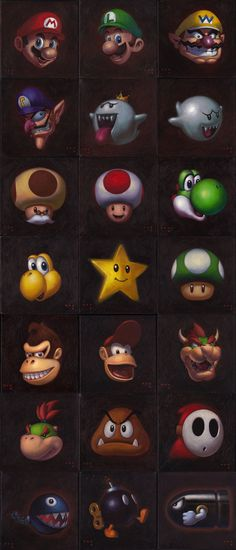 21 Nintendo characters by iconicafineart.