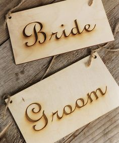 Look what I found on #zulily! 'Bride' & 'Groom' Wood Sign Set by Save On Crafts #zulilyfinds