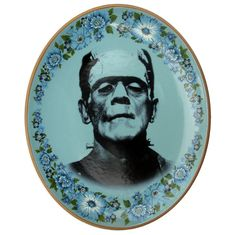 Frankenstein Portrait Plate  Altered Antique by BeatUpCreations