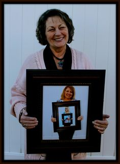 4 generation picture - A mom holding a picture of her daughter, holding a picture of her daughter, holding a picture of her daughter! Perfect for Mother's Day!