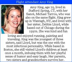 "Amy King- 29, was a flight attendant on United Airlines #flight175.  #project2996 #9/11 Amy was on the flight along with Michael Tarrou, who was also working that flight, the two of them had been dating for two plus years. Although nobody knows about the two getting engaged, Michael's dad said that ""They were engaged, in their own way."" #project2996 #9/11"