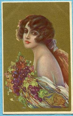 Unsigned Corbella postcard, Woman with grapes, Italian