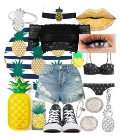 """""""🍍🍍🍍"""" by whodatgirl ❤ liked on Polyvore featuring Boohoo, 3x1, River Island, Aqua, Thomas Sabo, Converse and Lee Renee"""