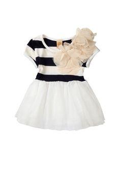 Striped Petal Trim Dress/Tunic