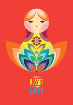 MATRIOSKA doll Illustration Poster in Yellow A3 by PeanutoakPrint