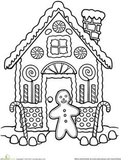 Christmas First Grade Holiday Worksheets: Gingerbread House Coloring