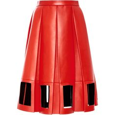Maison Margiela Decortique Leather A-Line Skirt (£3,770) ❤ liked on Polyvore featuring skirts, red skirt, genuine leather skirt, red a line skirt, red leather skirt and leather skirt