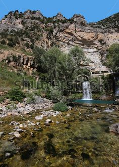 Afqa waterfall and River Ibrahim in the mountains of Lebanon by diak