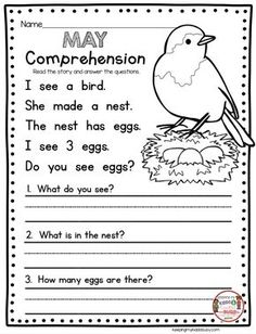 COMPREHENSION - kindergarten reading - May no prep worksheets and activities - end of the year in kindergarten - spring short stories for guided reading First Grade Reading Comprehension, Phonics Reading, Reading Comprehension Worksheets, Guided Reading, Teaching Reading, Comprehension Questions, Free Reading, Reading Response, Teaching Spanish