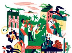 Summer in the streets of Lisbon illustration