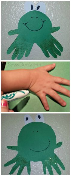 DIY Frog handprint craft for kids! #Frog art project #Cute artwork #Froggy | CraftyMorning.com