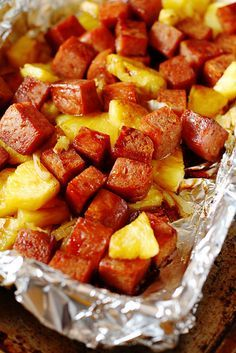 Baked Spam and Pineapple in Teriyaki Sauce