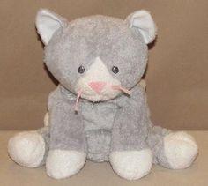 2008 TY Pluffies Pursley Kitty Cat Gray & White Beanies PlushStuffed Toy Kitten #Ty