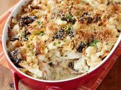 Chicken Tetrazzini Casserole with Cauliflower.  Note:  Be sure to cut the pasta in this dish in half.  Otherwise, the casserole is too dry.  Half the quantity of pasta is perfect for a creamy, beautiful dish!
