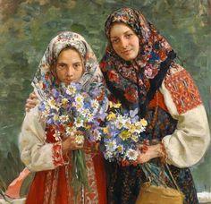 Meadow Flowers (detail) by Ivan Kulikov Popular Paintings, Paintings I Love, Russian Folk, Russian Art, Russian Style, Russian Culture, Russian Traditional Dress, Old Believers, Ukraine