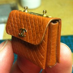Work in progress - miniature 1:12 genuine leather bag