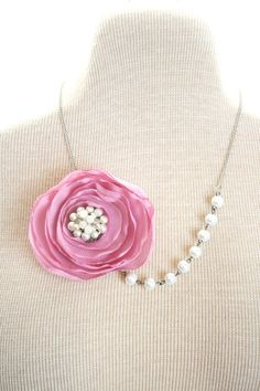 Fabric Flower Necklace Glass Pearl  Beaded by nightowlcreates, $22.00