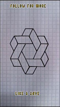 Graph Paper Drawings, Graph Paper Art, Art Drawings Sketches Simple, Cool Art Drawings, Pencil Art Drawings, Easy Drawings, Easy 3d Drawing, 3d Art Drawing, Art Drawings For Kids