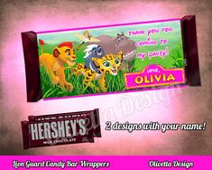 Lion Guard Candy Bar Wrappers 1.55oz Chocolate by OlivettaDesign