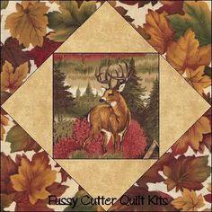 Deer Wilderness Woods Fall Autumn Fabric Quilt Top Blocks Kit