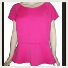 Pink peplum blouse No zipper cute pink color. New with tags worthington Tops Blouses