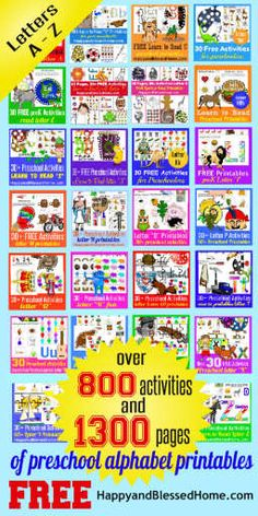 Unbelievable! FREE Over 1300 Pages of Preschool Alphabet Printables and 800 Activities for Letters A-Z HappyandBlessedHome.com ABC Worksheets | ABC Handouts | FREE Preschool Activities | Teaching the ABCs |Learning the ABCs | Learn to Read |ABC Flashcards |Sight Words | Early Reading | Preschool | Kindergarten | Homeschool