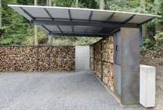 anthony pellecchia designs villa lucy carport located in a grove of trees, the three-sided, partially-covered … Building A Carport, Carport Garage, Carport Canopy, Pergola Carport, Carport Designs, Pergola Designs, Pergola Ideas, Diy Pergola, Shed Design