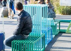 The interlocking modules of this street furniture by Polish designer Izabela Bołoz form flexible seating for members of the public to sit, recline or climb on.