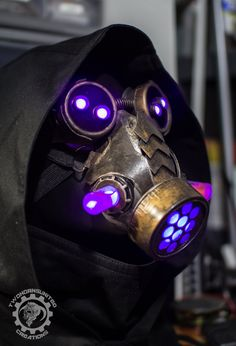 Alchemetry - light up LED steampunk apocalyptic dystopian respirator mask and goggle set