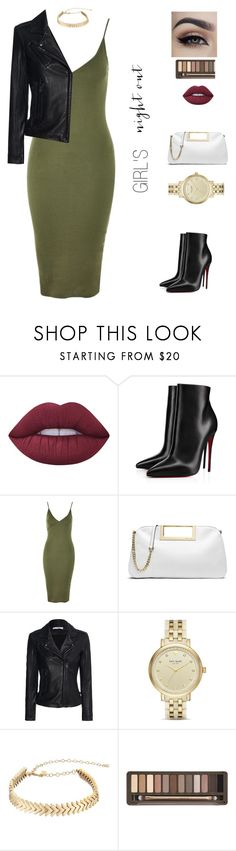 """""""Night On the Town"""" by dalba77 ❤ liked on Polyvore featuring Lime Crime, Christian Louboutin, Topshop, MICHAEL Michael Kors, IRO, Kate Spade, Rebecca Minkoff and Urban Decay"""