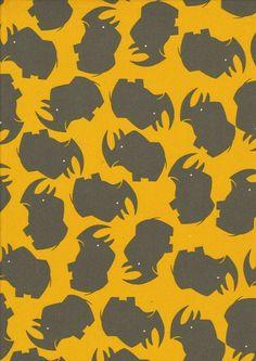 """Baumwoll Jersey """"Nashorn"""" grau auf gelb Tierjersey von Kathi Kunterbunt auf DaWanda.com"""