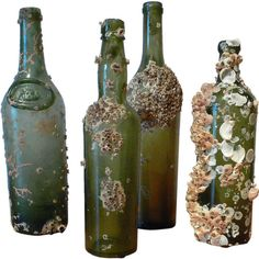 Green Glass Shipwreck Bottles ❤ liked on Polyvore featuring home, kitchen & dining, serveware, fillers, decor, bottles, other, objects, details and embellishment
