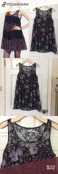 """Kimchi Blue tier babydoll floral tunic dress M Cute Kimchi Blue dress! Attached a stock photo of a similar dress to give you a sense of how it hangs. Straps are sheer but the body is lined. Great condition. Size M. 34"""" bust, 34"""" length.   Prepping to move, so I'm happy to accept offers! Shop with confidence— I am a Posh Ambassador! Check out my other items for bundles. Urban Outfitters Dresses"""