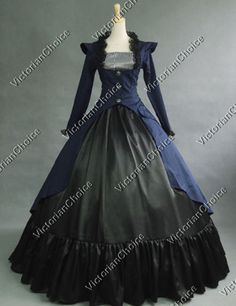 Gothic-Victorian-3-PC-Period-Dress-Reenactment-Theatrical-Clothing-NAVY-167-L