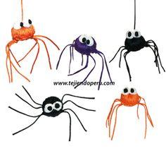 Tutorial: arañas de Halloween hechas en base a un botón tejido a crochet (Halloween spiders)