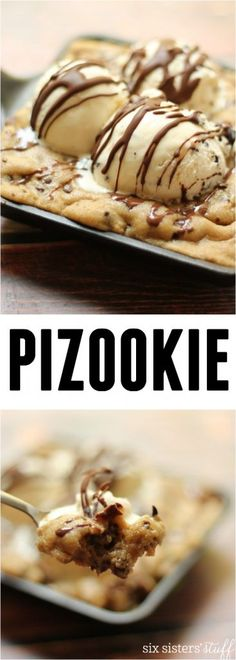 Pizookie, FH*zookie, Skookie – whatever you call it, this melty pizza cookie with ice cream topping will knock your socks off. Recipe from SixSistersStuff.com