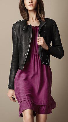 Burberry Brit Leather Biker Jacket -- would go great with a Tebi Jewels Cuff!  www.tebijewels.com