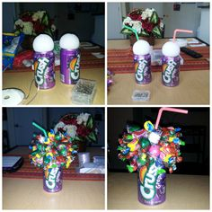 """Pop-Can Candy Bouquets. I made these for my big and little to go with personaliz. Pop-Can Candy Bouquets. I made these for my big and little to go with personalized """"blue solo cups"""". Candy Bouquet Diy, Candy Wreath, Diy Bouquet, Candy Gift Baskets, Diy Gift Baskets, Candy Gifts, Candy Arrangements, Candy Centerpieces, Quinceanera Centerpieces"""