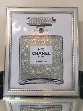 CHANEL no 5 PERFUME BLING GLITTER PRINT IN SILVER PICTURE FRAME (Included)