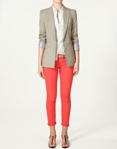Coral red jeans and blazer--maybe a little too formal, although the gladiators dress it down