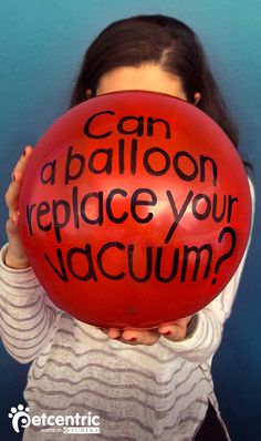 Did you know you can use the static from a blown up balloon to get pet hair off your couch? Visit Petcentric.com for more tricks and ideas removing dog hair from any surface!