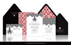 Old Hollywood Wedding Invitation SAMPLE by MarieCoutureDesigns