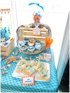 Yummy cupcakes and treats at an Octonaut's birthday party! See more party planning ideas at CatchMyParty.com!