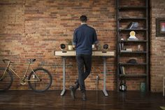 Modern, handcrafted standing desks made with the Jarvis electric, adjustable standing desk base. Beautiful modern designs, designed and made in the USA.