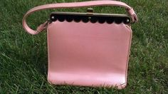 Vintage 1950s pink patent handbag with black and by ClosetCase1, $32.95