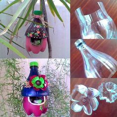 DIY Easy To Make Plastic Bottle Bird House - Find Fun Art Projects to Do at Home and Arts and Crafts Ideas Kids Crafts, Diy And Crafts, Craft Projects, Arts And Crafts, Plastic Bottle Crafts, Recycle Plastic Bottles, Water Bottle Crafts, Bottle Art, Glass Bottle