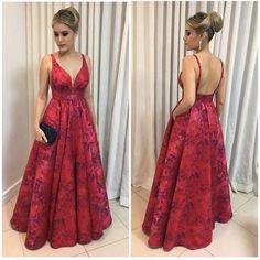 two straps v-neck A-line red flower satin long prom dress, Formal Evening Dresses, Evening Gowns, Dress Formal, Formal Prom, Dress Long, Cheap Prom Dresses, Homecoming Dresses, Fashion Vestidos, Yellow Bridesmaid Dresses