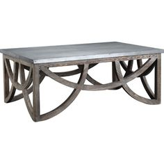 Reclaimed solid wood coffee table with distressed zinc top.Features:100% Reclaimed pine with distressed zinc topWhit...